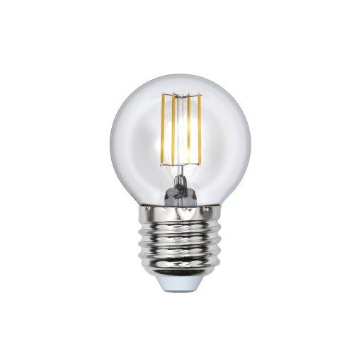 LED-G45-5W-WW-E27-CL-DIM GLA01TR Лампа светодиодная диммируемая. Форма шар. прозрачная. Серия Air. Теплый белый свет 3000K. Картон. ТМ Uniel