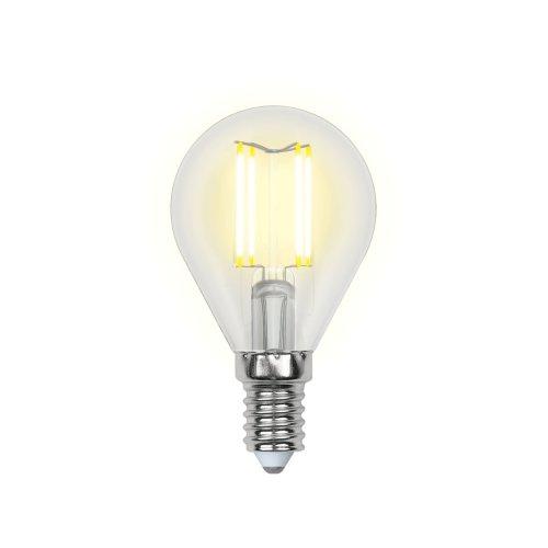 LED-G45-5W-NW-E14-CL-DIM GLA01TR Лампа светодиодная диммируемая. Форма шар. прозрачная. Серия Air. Белый свет 4000K. Картон. ТМ Uniel