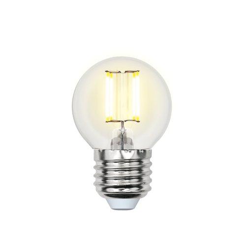 LED-G45-5W-NW-E27-CL-DIM GLA01TR Лампа светодиодная диммируемая. Форма шар. прозрачная. Серия Air. Белый свет 4000K. Картон. ТМ Uniel