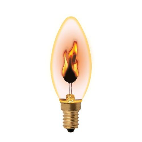 IL-N-C35-3-RED-FLAME-E14-CL Лампа декоративная с типом свечения эффект пламени. Форма свеча. прозрачная. Картон. ТМ Uniel.