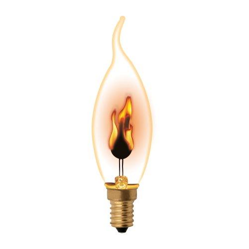 IL-N-CW35-3-RED-FLAME-E14-CL Лампа декоративная с типом свечения эффект пламени. Форма свеча на ветру. прозрачная. Картон. ТМ Uniel.
