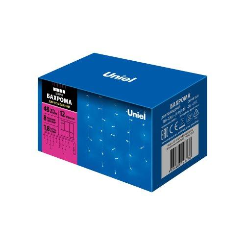 ULD-B1805-048-DTA WHITE IP20  Бахрома светодиодная с контроллером. 1.8 м. 48 светодиодов.  Белый свет. Провод прозрачный. TM Uniel.