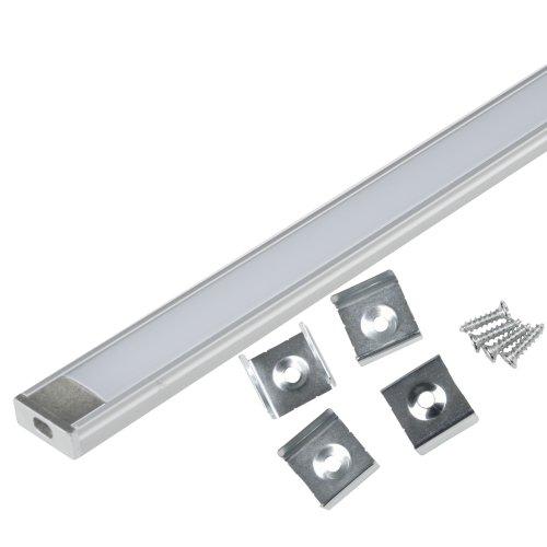 UFE-K02 SILVER-FROZEN 200 POLYBAG Накладной алюминиевый профиль с матовым рассеивателем. 200 см. 2 заглушки+4 крепежа в-к.. ТМ Uniel.