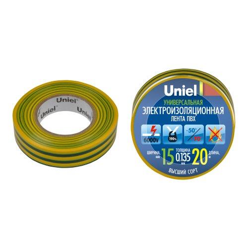 UIT-135P 20-15-10 YGR Изоляционная лента Uniel 20м. 15мм. 0.135мм. 10шт. цвет Желто-Зеленый
