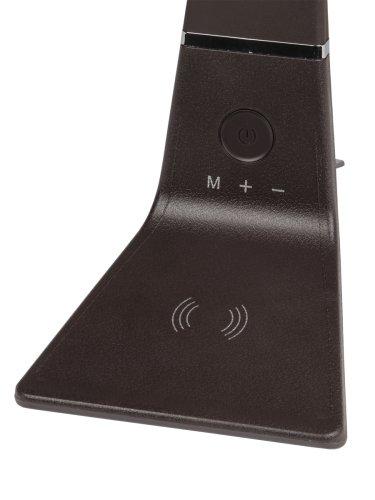 TLD-565 Brown-LED-360Lm-3000-6000K-Dimmer-WR Светильник настольный. 12W. Сенсорный выключатель. Диммер. Беспроводное зарядное устройство. Коричневый. ТМ Uniel