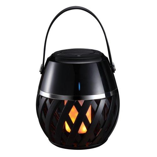 ULD-R201 LED-FLAME BLACK Светодиодный светильник с bluetooth колонкой 75db. Эффект пламени. Встроенный аккумулятор 1800mAh. Черный. ТМ Uniel