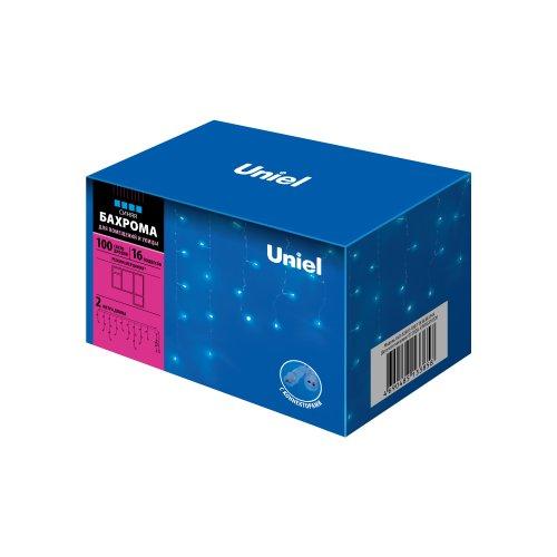 ULD-B2007-100-TTK BLUE IP44  Бахрома светодиодная с эффектом мерцания. 2м. Соединяемая. 100 светодиодов. Синий свет. Провод прозрачный. ТМ Uniel