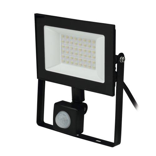 ULF-F62-50W-6500K SENSOR IP54 200-240В BLACK Прожектор светодиодный с датчиком движения и освещенности. Дневной свет 6500K. Корпус черный. TM Uniel