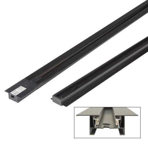 UBX-Q123 RS2 BLACK 100 SET01 Шинопровод осветительный. тип R. в наборе с заглушкой и вводом питания. Однофазный. Встраиваемый. Черный. Длина 1м. ТМ Volpe
