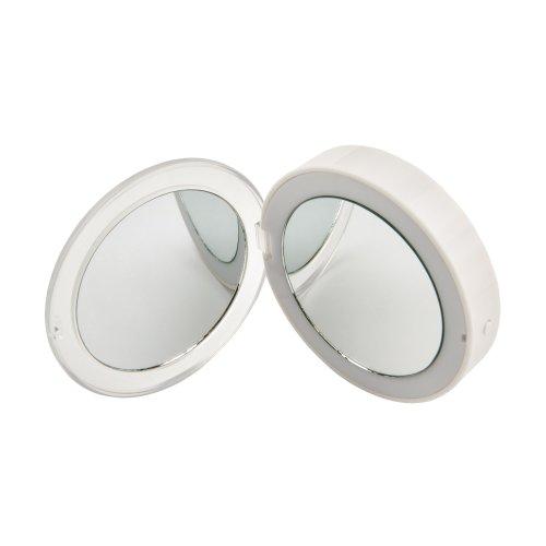 ULK-F70 2AAA WHITE Зеркало карманное с подсветкой 1Х+2Х. На батарейках 2AАА не в-к. Белый. ТМ Uniel