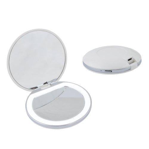 ULK-F72 DIM-RECH WHITE Зеркало карманное с подсветкой 1Х+2Х. с диммером. Серия Backstage. Аккумулятор Li-Ion 300мАч. в-к. Белый. ТМ Uniel