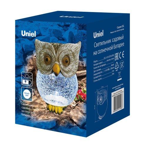 USL-S-813-GT160 OWL Садовый светильник на солнечной батарее Сова. 1 светодиод. Белый свет. 1xАА Ni-Mh аккумулятор в-к. IP44. TM Uniel
