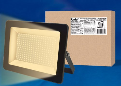 ULF-F18-200W-WW IP65 200-240В BLACK Прожектор светодиодный. Теплый белый свет 3000K. Корпус черный. TM Uniel.