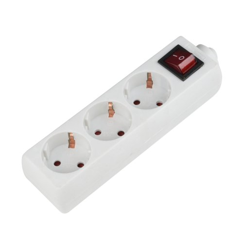 K-GCP3-10B WHITE Колодка для удлинителя Uniel. с выключателем. 3 гнезда. с-з. 10A. 2200Вт. Белый. ТМ Uniel