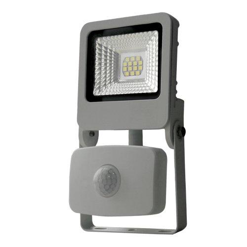 ULF-F37-10W-NW SENSOR IP54 195-240В SILVER Прожектор светодиодный с датчиком движения и освещенности. Белый свет 4000K. Корпус серебристый. TM Uniel.