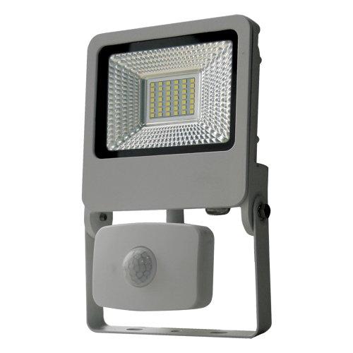 ULF-F37-30W-NW SENSOR IP54 195-240В SILVER Прожектор светодиодный с датчиком движения и освещенности. Белый свет 4000K. Корпус серебристый. TM Uniel.