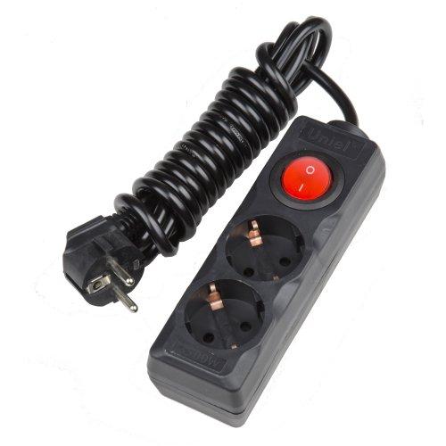 S-GCD2-3B BLACK Удлинитель серии Standart. шнур 3м.. 2 гнезда. с-з. Черный. TM Uniel.