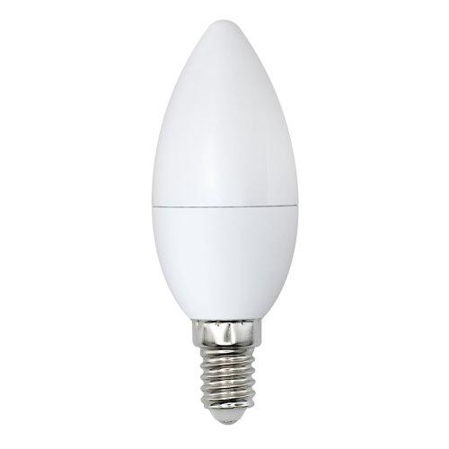 LED-C37-9W-DW-E14-FR-NR Лампа светодиодная. Форма свеча. матовая. Серия Norma. Дневной белый свет 6500K. Картон. ТМ Volpe