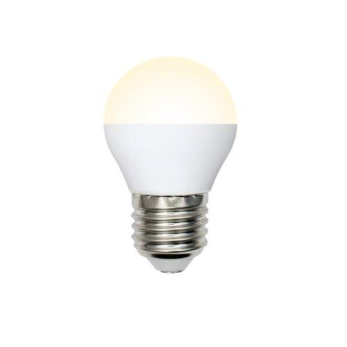 LED-G45-9W-WW-E27-FR-NR Лампа светодиодная. Форма шар. матовая. Серия Norma. Теплый белый свет 3000K. Картон. ТМ Volpe