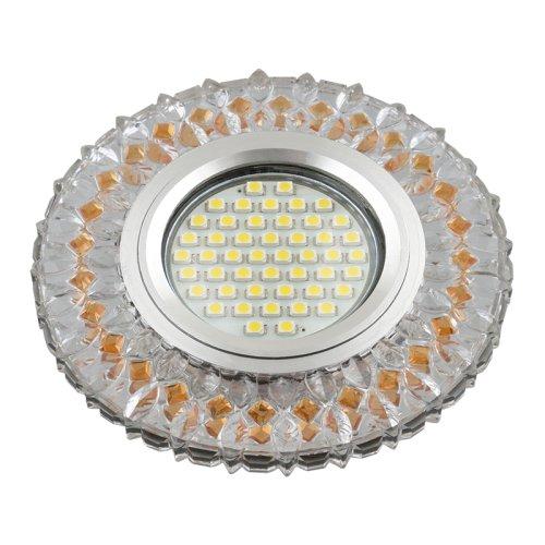 DLS-L138 GU5.3 GLASSY-LIGHT TEA Светильник декоративный встраиваемый. серия Luciole. Без лампы. GU5.3. Доп. LED подсветка 3Вт. Стекло. Зеркальный-прозрачный+светло-коричневый. ТМ Fametto