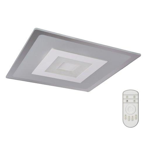 DLC-N501 38W GLASS-CLEAR Светильник светодиодный потолочный ТМ Fametto. серия Nimfea. 38 Вт. Диммируемый. Пульт ДУв-к. 3000К-4000К-6500К. Материал стекло; цвет прозрачный. 500х500мм.