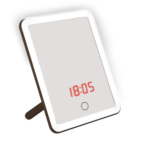 TLD-591 Brown-LED-80Lm-6000K-Dimmer-T+M Настольный светильник зеркало. 4W. Встроенный аккумулятор 3.7V-600mAh. Сенсорный выключатель. Диммер. Часы. Термометр. Коричневый. ТМ Uniel