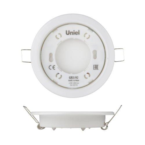 GX53-H2 WHITE 10 PROM Светильник ультратонкий встраиваемый. В составе набора из 10шт. Корпус белый. Картон. TM Uniel.